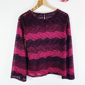 [BANANA REPUBLIC] Wave Lace Bell Sleeve Top